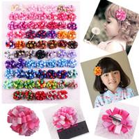 """Wholesale Elastic Hair Ties Bracelet - 100pcs baby Ribbon loopy flower 2"""" hair bows clips hair tie elastic bracelet wrist flowers ponytail princess headband accessories HD3462"""