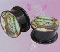 Wholesale 5mm Plug Ear - Popular Cat Logo Ear Plug Flesh Tunnel Body Jewelry 4mm 5mm 6mm 8mm 10mm 12mm 14mm 16mm