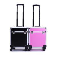 Wholesale Trolley Bag Case - Professional Makeup Case Pvc Aluminum Trolley Cosmetic Case Makeup Bag Travel Cosmetic Bag Storage Cosmetic Cases