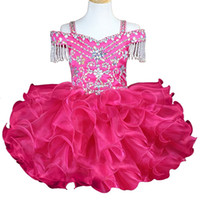 Wholesale cute short dresses for graduation for sale - Group buy Cute Ruffle Beads Crystal Cupcake Girls Pageant Dresses Short Girl Communion Dress Kids Formal Wear Flower Girls Dresses for Wedding