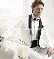 Wholesale Herringbone Wool Suit Jacket - New Style One Button Ivory Groom Tuxedos Shawl Lapel Groomsmen Mens Wedding Suits Prom Suit (Jacket+Pants+Girdle+Tie) G990