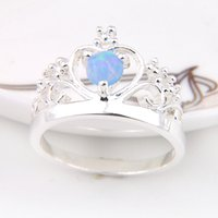 10 peças 1 lote LuckyShine Friend Gift Superb Round Fire Blue Opal Crystal 925 Sterling Silver Rings Rússia American Australia Crown Rings