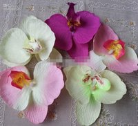 Wholesale Phalaenopsis Fabric Flowers - 80pcs 9*10cm Cute DIY Butterfly Orchid Phalaenopsis Flower Heads Artificial Fabric Silk Flowers decorations