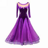 Wholesale Ballroom Dress Waltz - NEW SALE Long Sleeve Rhinestones Slim Waist Velour Women Standard Ballroom Dance Dress with Inner Bra Flamenco Waltz Tango Costume CAD211