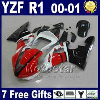 orijinal yamaha toptan satış-YAMAHA 2000 2001 için yarış kiti YZF R1 kaporta kitleri kırmızı siyah orijinal renk yzf1000 00 01 yzfr1 marangozluk set karoseri U7E3