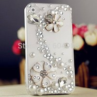 Wholesale Diy Hard Iphone Cases - DIY Handmade 3D Pearl Flower Bling Crystal Rhinestone Hard Case for Apple iPhone6 4.7' For iPhone6 Plus 5.5
