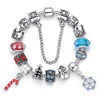 Wholesale Glass Beads Snowman - Newest Charm Bracelets with Snowflake Murano Glass Beads & Christmas Tree & Snowman Silver Charms & Santa's Crutch Dangles BL096