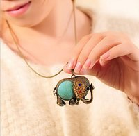 Wholesale Sweater Chain Elephant - 2015 New Women Vintage Elephant Rhinestone Pendant Turquoise Long Necklace Bronze Sweater Chain TC0657