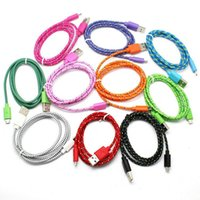 Wholesale Extra Long Data Cables - 1M 2M 3M Fabric Braided Nylon Sync Cloth Woven Universal Micro USB Cable Cord Extra Long Extension For Samsung HTC 10 Colors Data Cable