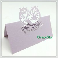 Wholesale Love Bird Wedding Invitations - 50X Free Shipping New Laser Cutting Place Seat Name Card Lovely Birds in Love Heart Paper for Wedding Invitation Party Table Decorations