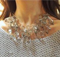 Wholesale Style Za - Luxury Trendy ZA Style Transparent Acrylic Flower Drop Bib Statement Necklace Chunky Chain Jewelry