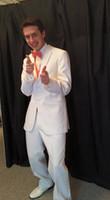 ingrosso tuxedos dello sposo del giro del tacco bianco-Smoking smoking dello sposo economici 2016 Notch Risvolto Groomsman Uomini Abiti da sposa Smoking dello sposo per gli uomini (Jacket + Pants + Tie + Vest)