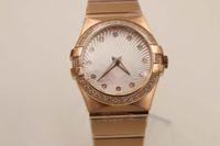Wholesale Elegant Automatic Watch - Elegant Brand Automatic Watch For Women Full Rose Gold Case Diamond Belt White Dial Spphire Face Constellction Mechanical Feminine Watch