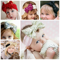 Wholesale Christmas Gift Wrap Sale - Girl Hair Accessories Sequined Big Bows Baby Headbands Twist knot Head Wrap Soft Cotton Hairband Infant Toddler Christmas Gift Hot Sale