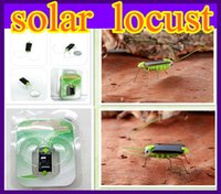 Wholesale Toy Locusts - Novel Solar Toy Solar Power Robot Insect Bug Locust Green Grasshopper Toy kid with 6 legs
