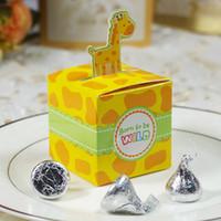 Wholesale Baby Shower Favors Box - 30pcs Giraffe Candy Box Cute Animal Gift Boxes Baby Shower Birthday Wedding Favors   Monkey   Tiger   Elephant