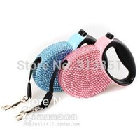 Wholesale Crystal Retractable Leash - Wholesale-Wholesale Pet Products Outdoor Crystal Retractable Dog Leash Crystal Leads For Up to 44lbs 20kgs Extends 10Ft 3meter 72PCS LOT