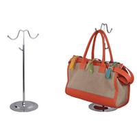 Wholesale wholesale handbag displays - Double Hooks Curved Hook Light Hanging Bags Adjustable Handbag Rack Display Silk Scarves Bag Hook Wig Hanger Stand ZA5227