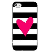 Wholesale Iphone 4s Case Heart Plastic - Wholesale Black White Plaid With Pink Heart Design Hard Plastic Mobile Phone Case Cover For iPhone 4 4S 5 5S 5C 6 6plus