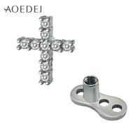 Wholesale Dermal Anchor Titanium - AOEDEJ Crystal Cross Dermal Anchor Piercing Jewelry Titanium Piercing Skin Diver Dermal Piercing Stainless Steel Body Jewelry