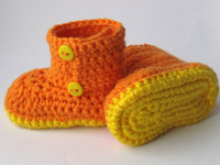 häkeln baby booties monate groihandel-Infant Kinder Jungen Mädchen Gelb Crochet Schuhe Hausschuhe mit Aby Schuhe weiche Baby Booties für 0-12 Monate Baby Brauch