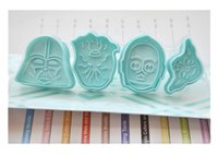 Wholesale Star Wars Cookie Cutter - 4Pcs Set Star war Fondant Plastic Cake Cookie Chocolate Mold Cutter Modelling Tools High Quality Bakeware Tools with color box