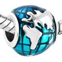 Wholesale earth charms - Retail Blue Ocean Earth Shaped Lucky European Charm Large Hole Metal Slide Bead Fit Pandora Bracelet