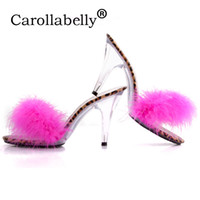 хрустальные перышки оптовых-Большой размер 35-44 прозрачный женщины насосы Sexy Crystal 10 см или 7 см высокие каблуки тапочки с перьями Сексуальный ночной клуб слайды обувь