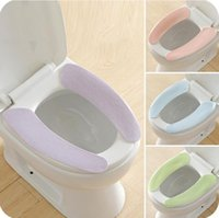 Wholesale Washable Toilet Seat Warmer - hotsale bathroom accessories colorful warmer soft comfortable washable carpet toilet seat covers sticky toilet mat overcoat free shipping
