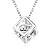 Wholesale cube element - White Gold Plated Cube Square Cubic Zirconia Diamond Pendant Necklace Swarovski Elements Jewelry For Women Wedding Jewelry