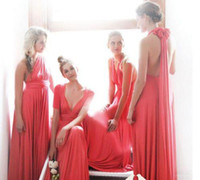 Wholesale Best Light Yellow Bridesmaid Dresses - Best Selling 2016 Convertible Bridesmaid Dress Ruched Floor Length Chiffon Coral Long Prom Evening Gowns