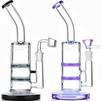 Wholesale Double Jet - Glass Bong water pipe dab rig oil rigs double honeycomb perc purple wax quartz banger heady pipes bongs heady Beaker bubbler jet bent Neck