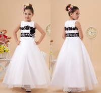 Wholesale Girls Ball Gown Tone - Lace Flower Trimmed Two Tones Long Girls Glitzy Kids Flower Party Evening Prom Dresses Ball gown Square Floor-length 2015 Summer New Arrival
