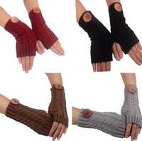 manchons sans doigts achat en gros de-2015 style occidental Noël femmes filles bouton solide dentelle tricotée Fingerless Gloves Arm Warmers 23pairs / lot couleur mélangée # 3903