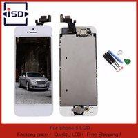 outils d'assemblage iphone achat en gros de-Gros-Blanc Pour iphone 5 5G LCD écran tactile cadre d'assemblage du numériseur + bouton Accueil câble flex + caméra frontale + outils Livraison gratuite