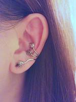 Wholesale Flower Ear Cuff Stud Earring - Fashion Ear Cuff Vintage Alloy Ear Stud Leaf Design Earring Ear Cuff Wrap Clip Ear earrings women Ear Clip Bronze Silver Stud Earing Eardrop