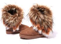 botas de plumas de invierno al por mayor-Envío gratis 2015 otoño e invierno bota de nieve plumas de piel de zorro de fondo plano zapatos de algodón acolchado botas de invierno