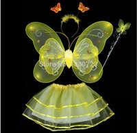 asas de tutu venda por atacado-Freeshipping 500 sets / lote Fantasias de Carnaval atacado 6 cores misturar 4pcs em um conjunto Única camada de Asas de Fadas Conjunto com Tutu