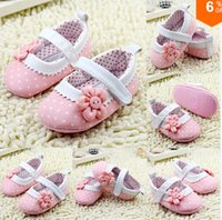 Wholesale Crochet Baby Shoes Free - Princess Pink Flower Dot Baby Shoes Soft Sole Toddler Crib Shoes Free Shipping3pairs 6pieces