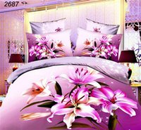 Wholesale Magenta Bedding Sets Flowers - HOT! Magenta Lily flower bedding sets 3d 4pcs bed sets comforter cover bedsheets pillowcases free shipping some countries 2687