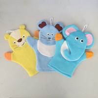 Wholesale Baby Bath Mitts - 50pcs Baby Sponge Bath Rub Mitt Kids Child Bath Brush Animals Shape Bushtub Glove Hand Puppets And Bath Towel Bathroom