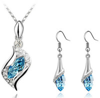 Wholesale Blue Rhinestone Pendant Necklace - Fashion Austrian Crystal Jewelry Set Rhinestone Earrings + Necklace Pendant Sets Silver Plated Jewelry Set 6 Colors