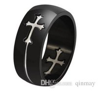 Wholesale Mens Titanium Cross Rings - Wholesale Men's gfts Fashion Titanium Ring Polished Mens Womens Promise Wedding Engagenebt Band Rings with moveable cross