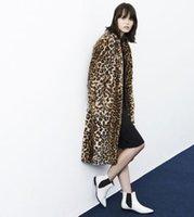 Wholesale Leopard Print Faux Fur Coats - 2016 autumn winter new street fashion long overcoat plus size faux leopard print fur coat woman double pocket jacket XXL D4003
