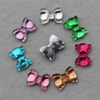 200PCS 9 * 12mm Mix colore Flatback Bow tie resina strass abbellimento ZZ186