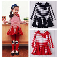 Wholesale Navy Striped Long Sleeve Dress - New Girls Tops Dresses Long Sleeve Cotton Stripe Bow Dress Ball Gown Dress Kids Girl Party Wear Navy Red 5pcs lot