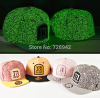 Wholesale Night Clubs Dance - Wholesale-Cool Glow in the dark Luminous Glow Snapback Baseball Cap Club Party Dance night Hat hiphop Hot Hat the trend of summer