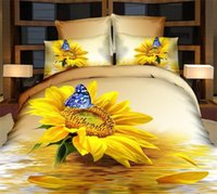 Wholesale Sunflower Queen Comforter - Wholesale-3d yellow sunflower butterfly bedding sets queen size 4pc flowers duvet comforter cover bed sheet bedclothes cotton home textile