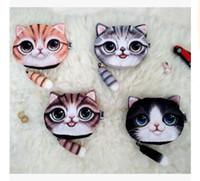 Wholesale Dhgate Bags - Women 3d Cat Coin Purse Bag Wallet Girls 4 Design Clutch Purses Printer Cat face Change Purse cartoon handbag case Free Shipping Dhgate