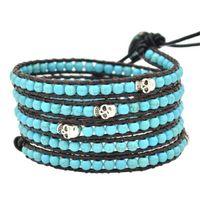 Wholesale Womens Leather Beaded Bracelets - Lily DIY Leather Bracelet Agate Bead Womens Fashion Wrap Leather Wristband Skull Cuff Turquoise Bracelet Bangle